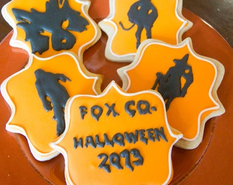 One dozen personalized Halloween party cookies