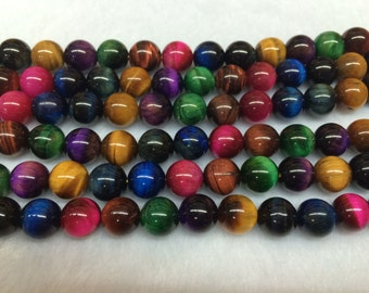 10mm Round Tigereye Beads Genuine Natural Multicolor 15''L 38cm Loose Beads Semiprecious Gemstone Bead   Supply