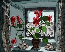 Geraniums, Art print, Orkney, flower print, gift for an art lover, flower illustration, sunny window, digital illustration