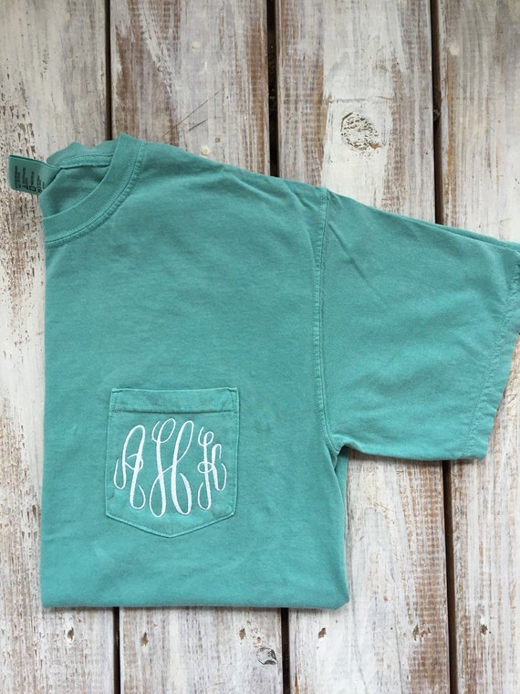 Comfort Colors Personalized Monogrammed Pocket T Shirts