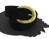 RESERVED for Sylvie - Black Belt with Gold Buckle