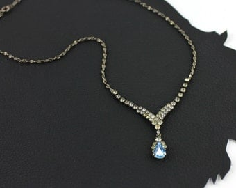 Something Blue Rhinestone Vintage Necklace