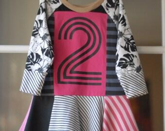 Upcycled 2nd birthday dress, twirl dress, second birthday dress, size 2T