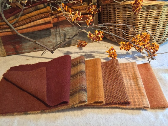Fall Colors Wool Bundle, Wool Fabric for Rug Hooking, Applique, Penny Rugs, Quilting - 6 One Sixteenth  Yard Pieces of Maple Leaves W233