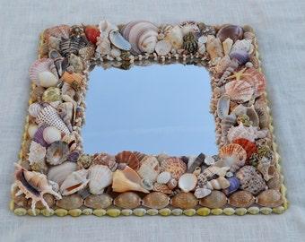 "Beach Decor Seashell Mirror 19x19""- One of a Kind"