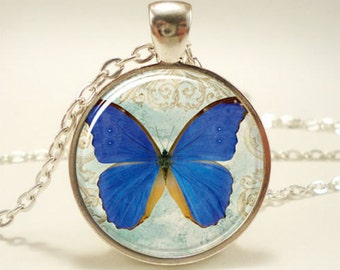 butterfy glass picture pendant necklace