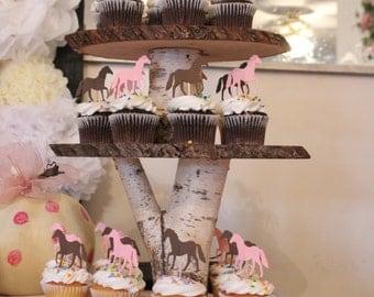 Baby Shower Birch Cupcake Stand