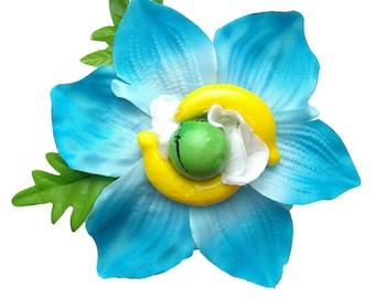 10% off with the code BDAY10  Oversized Fruity Aqua Blue Kaffir Lily Hair Flower Pin Up Rockabilly