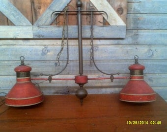 Large Antique Hanging Two Pendant Lamp, Rustic Hanging Lamp, Farm Table Lamp, Red Hanging Lamp, Antique Swag Lamp, Large Ceiling Lamp