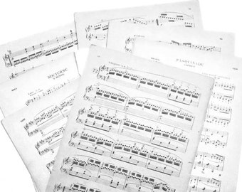 60 white and ivory pages of vintage sheet music for crafting,  scrapbooking, card making,  vintage music pages, vintage song pages