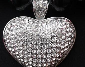 Big Bing Heart, black Pearls Necklace