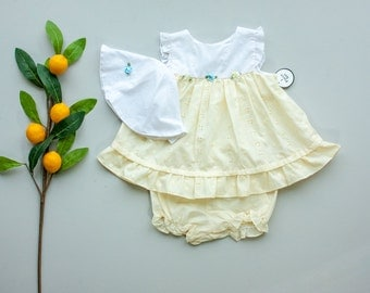 NOS 80's Pastel Yellow & White EYELET Baby Dress Set Vintage 3 Piece Outfit with + Matching Bloomers and Hat / 6-9 Month Baby Girl