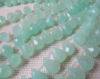 10x14mm Chalcedony Quartz Faceted Briolette Bead S65