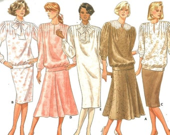 5769 Butterick Sewing Pattern Loose Fitting Pullover Dress Top Skirt Size 8 Vintage 1980s