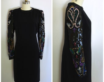 Sequined Evening Gown/ 80s Black Party Dress/ NYE Sparkle Dress/ Women's Size Small to Medium