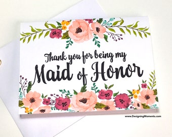 Maid of Honor Thank You Card, Thank You For Being My Maid of Honor, Wedding Thank You Card, Thank You Maid of Honor, Bridesmaid Card