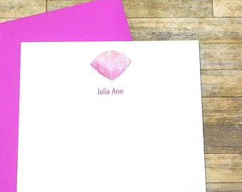 Diamond Stationery - Personalized Diamonds are a Girls Best Friend Note Cards - Watercolor Gem Stationary - Gem Stones - DM247