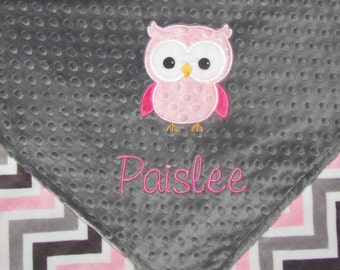 Personalized Baby Blanket, Custom Owl Baby Girl Blanket, Custom Blanket, Minky Baby Blanket, Made to Order