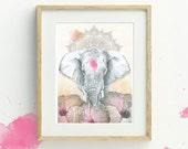 Elephant Art Print, A4, Bohemian Decor, Bohemian Elephant Wall Art, Elephant Illustration, Wildlife Print, Mandala, Wildlife Print, Boho Art