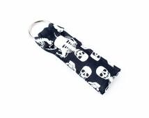 Skeleton Chapstick Keychain - Bones Black Lip Balm Holder Cozy
