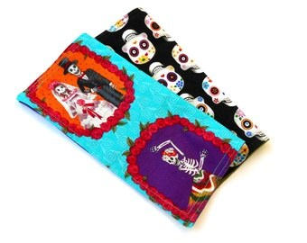 Day of the Dead Double Sided Lunch Cloth Napkins -Set of Sugar Skull Napkins