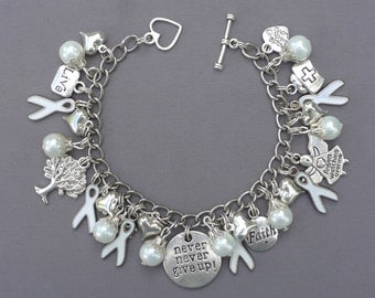 NEW Never Never Give Up White Awareness Charm Bracelet Lung Cancer Peace Adoptees Emphysema Mesothelioma