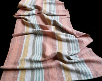 Vintage hand-woven linen tablecloth with Stripes Hand Woven Table cloth 50s