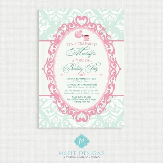 Printable Wedding Shower Invitation- Bridal Shower Tea Party - VIntage Invitation - Printable bridal tea invitation