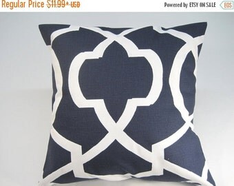SALE Pillow Cover, Navy Blue Pillow, Throw Pillow, Pillow, Decorative Pillow, Throw Pillow, Cushion, Beach Decorl,Morrow Pattern, Various Si