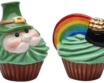 "3.25"" Leprechaun and Rainbow Pot of Gold Salt and Pepper Shakers"