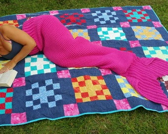 Ready to Ship* adult small mermaid tail blanket, pink