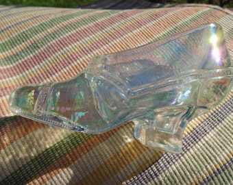 Vintage Iridescent Clear Carnival Glass Shoe