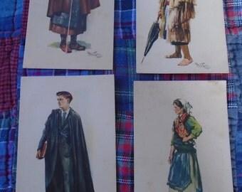 Set Of 4 Vintage Portuguese Pastcards By Artist Alberto de Souza Dao