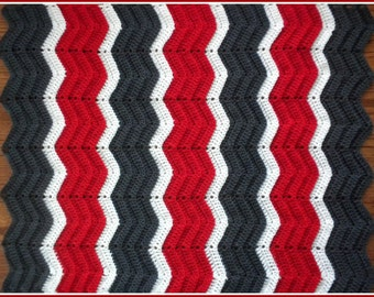 Handmade Crochet Cherry Red, Charcoal Grey and White Baby Blanket