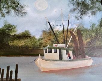 Shrimp boat in acrylic
