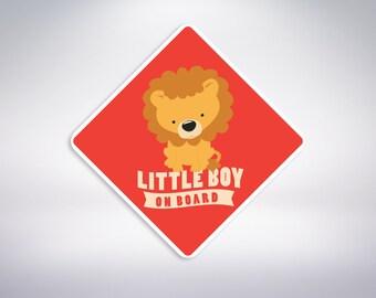 Little Boy on board - LION Car Sticker. Baby on board, car sticker.