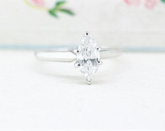 SALE Simple Engagement Ring   Unique Marquise Diamond Solitaire Ring   Vintage Engagement Ring   14k White Gold Diamond Ring   Size 5.75