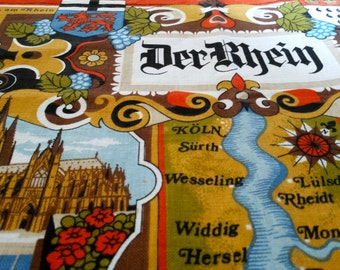 vintage tea towel, cotton tea towel, der rhine, Germany, river, cities, tourist, souvenier, vintage gift, vintage kitchen, vintage