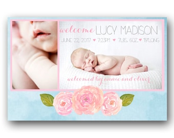 Floral Birth Announcement -  Custom Photo Baby Announcement - Printable - Bright Watercolors