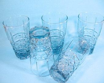 Blue  Glass tumblers, iced tea, lemonade glasses, 5 drinking glasses