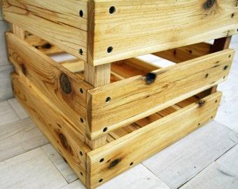 "Reclaimed Cedar Milk Crate 20"" x 20"" x 12"" . . . (aka modern farmhouse box, storage crates, wooden crates, photo prop, shabby chic basket)"