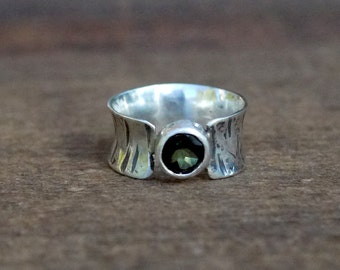 Green Tourmaline Ring, October Birthstone, Green Ring, Rustic Tourmaline Ring, Corset Ring, Silver Ring, Size 7.5, Anti-clastic Ring