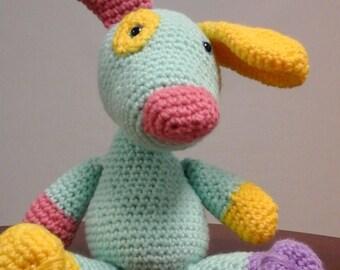 Aqua Dog cute crocheted patchwork puppy
