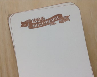 happily ever after note cards, vintage inspired, flat note cards/envelopes, wedding stationery set