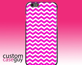 Hard Snap-On Case for Apple 5 5S SE 6 6S 7 Plus - CUSTOM Monogram - Any Colors - Hot Pink White Chevron Stripes Wave