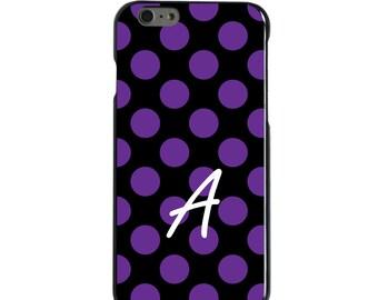 Hard Snap-On Case for Apple 5 5S SE 6 6S 7 Plus - CUSTOM Monogram - Any Colors - Purple Black Polka Dots Name