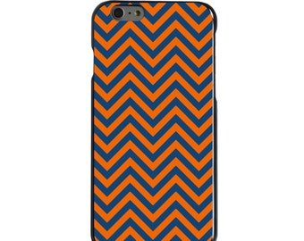 Hard Snap-On Case for Apple 5 5S SE 6 6S 7 Plus - CUSTOM Monogram - Any Colors - Virginia UVA Cavaliers Colors - Chevron Pattern