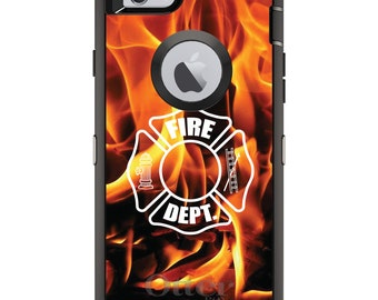 Custom OtterBox Defender Case for Apple iPhone 6 6S 7 8 PLUS X 10 - Personalized Monogram - Flames Fire Department