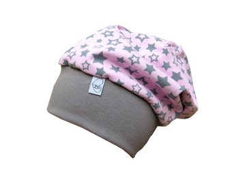 Beanie Cap Hat baby hat in pink with stars