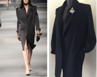 80's Oversized Black Wool Coat / High Fashion Style